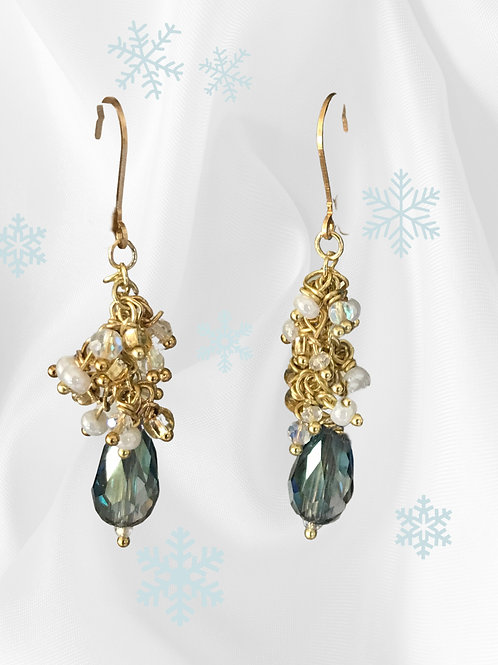 Earrings-Iridescent faceted blue crystal drops with pearl &  crystal clusters