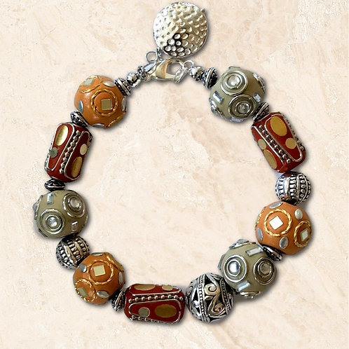 Bold statement bracelet, colorful decorated beads