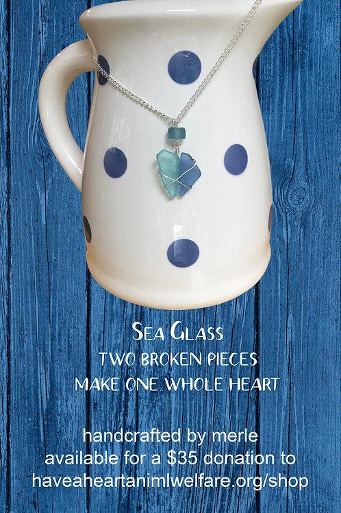 Sea Glass Unbroken Heart Pendant Necklace