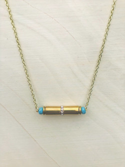pendant double bullet with turquoise beads and crystal rondelle