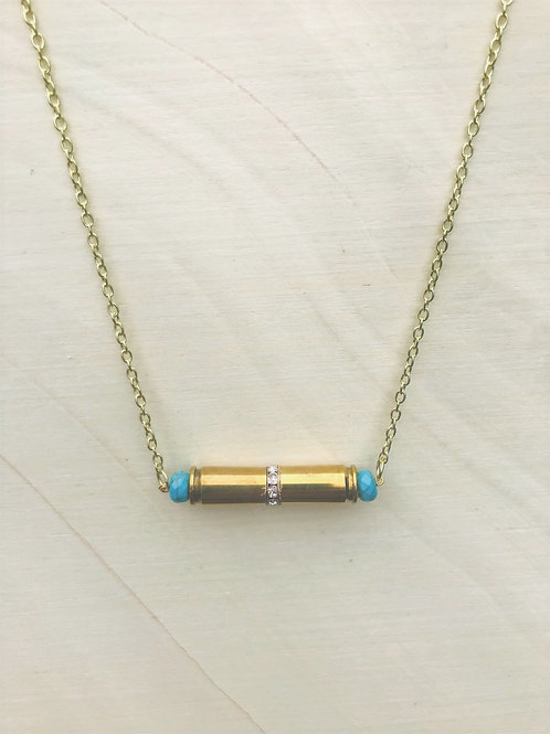 Double Bullet Necklace, Crystal Rondelle, Turquoise Beads