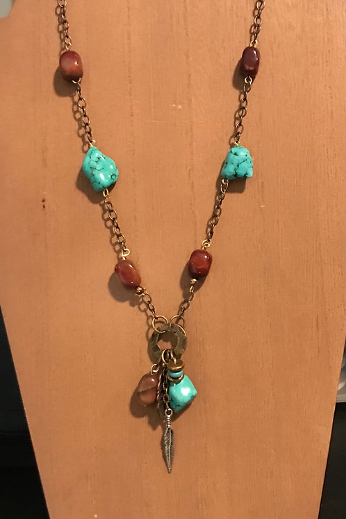 Handcrafted, Long chain necklace with Turquoise, Painted Desert Jasper