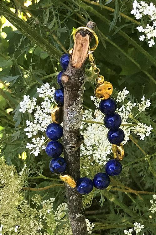 Lapis Lazuli with Golden Lentil Beads, Bracelet