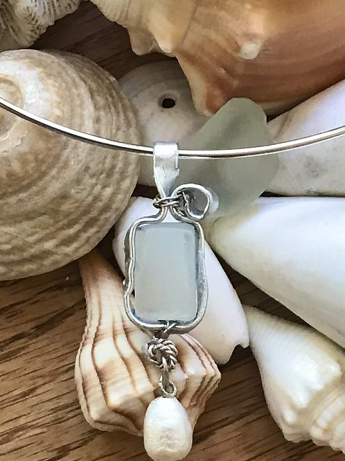 Beach Glass & Freshwater Pearl Small Pendant on Neckwire