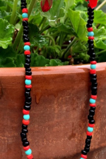 Native American Pattern Seed Bead Necklace with Silver Plate Arrowhead