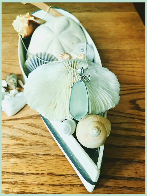 Sea Glass Pendant on Silver Chain-Simply Elegant