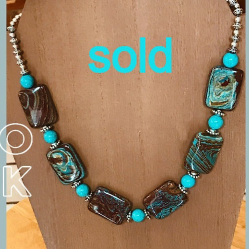 Royston Turquoise Cabachon Necklace. One of a kind.
