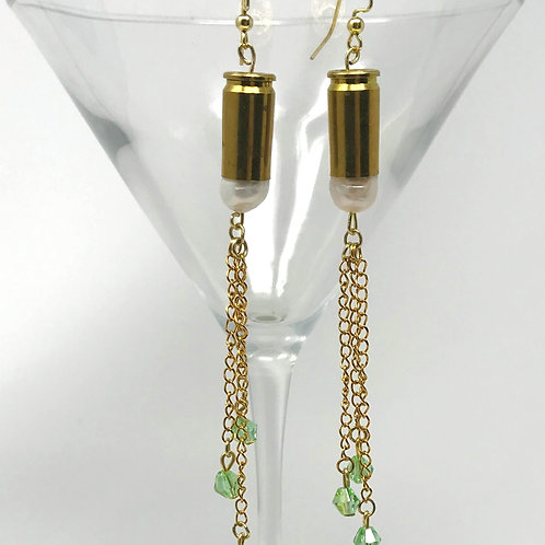 Earrings-Shoulder Dusters, Brass Bullets, Freshwater Pearls, Peridot Crystals
