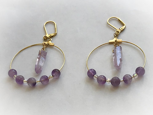 Earrings Amethyst and Lavender Crystals