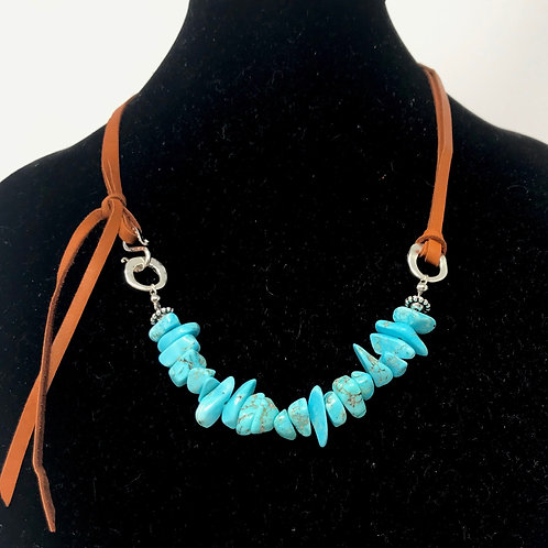Turquoise Nuggets on Leather Necklace