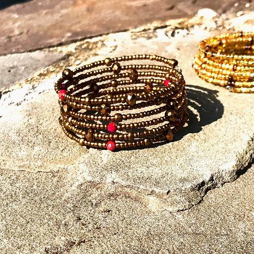 Golden Bronze & Red Crystal Wrap Bracelet