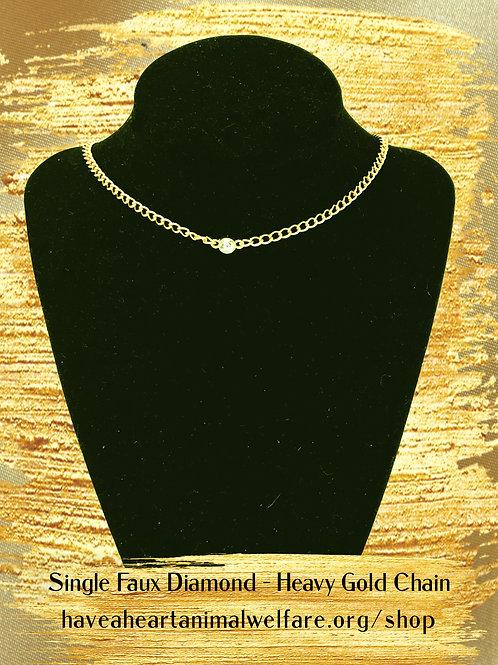Heavy gold plate chain, single faux diamond choker