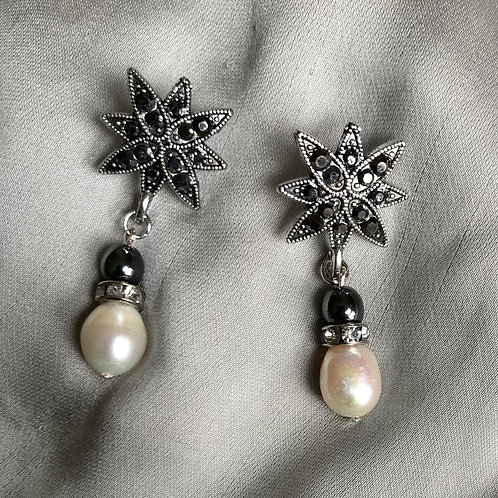 Earrings, Marcasite, Hematite Round, Freshwater Pearls