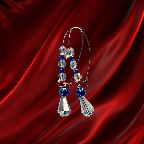 Blue & Clear Crystal faceted beads with larger drop earrings