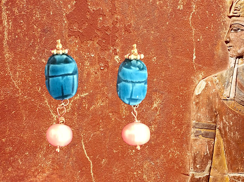 Blue glazed scarabs with freshwater pearls