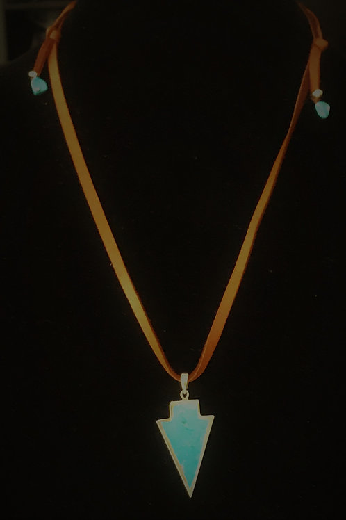 Turquoise Arrow on Leather Necklace
