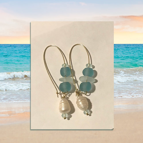 Sanded blue glass and freshwater pearl earringss