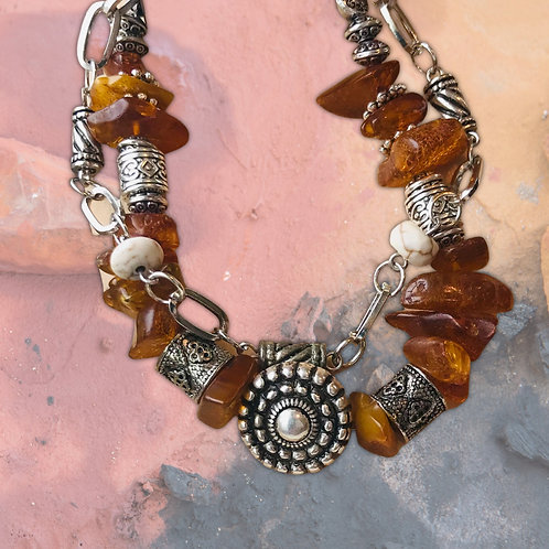Tribal Amber & Antiqued Silver Plated Double Bracelet