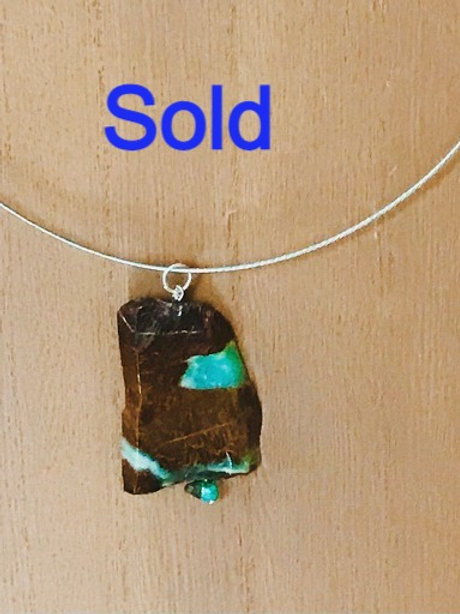 Royston Turquoise Polished Slab Pendant on necklace. One of a kind.
