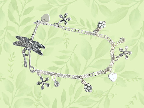 Dragonfly and flowers bracelet