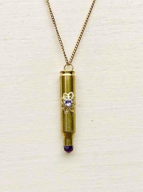 Pendant with filigree trim, Swarovski Crystal, Purple faceted crystal bead