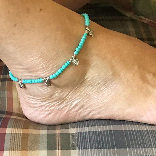 Turquoise Seed Bead w/ Silver trim anklet