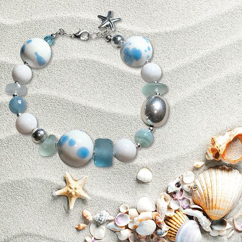 Beachy Blue & White Statement Bracelet