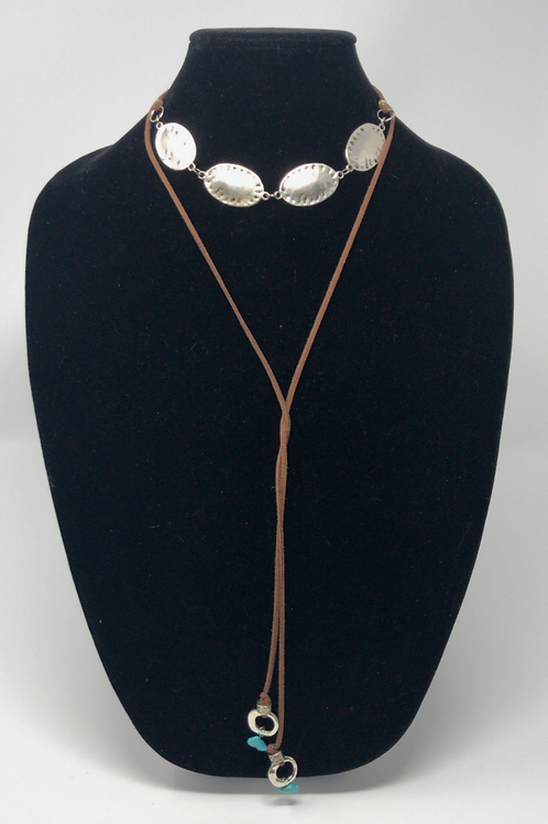 Silver Plated Concha Lariat Necklace