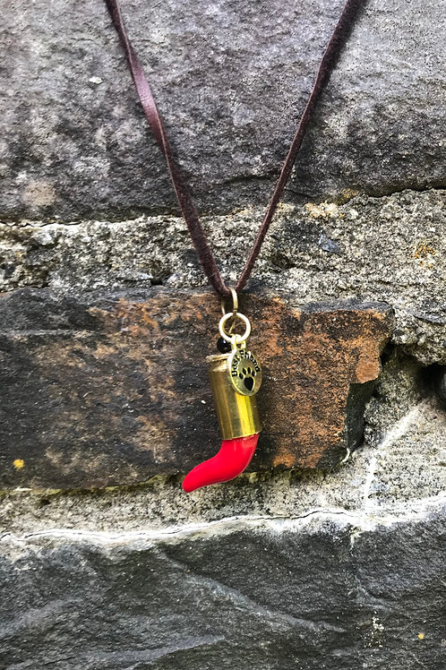 Pendant w/ upcycled brass bullet, Coral, Charm on leather.