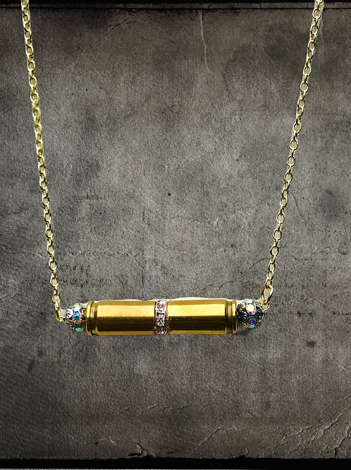 Double Bullet Necklace with Crystal Rondelle & Trim