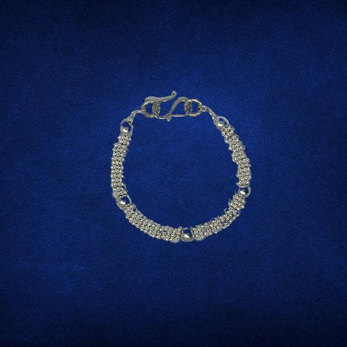 Bracelet, silver rondelles & silver balls, decorative hook clasp