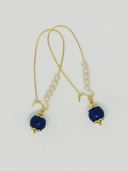 Earrings on Gold wire with Pearl Seed beads and Lapis Lazuli.
