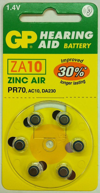 ZA10 סוללות למכשיר שמיעה