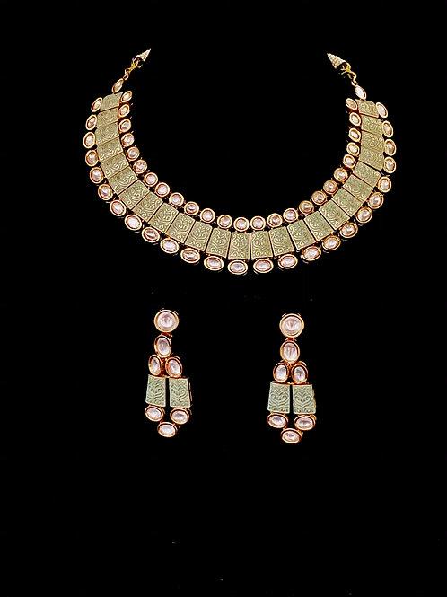 Mint Green Kundan Polki Geometric Necklace Set