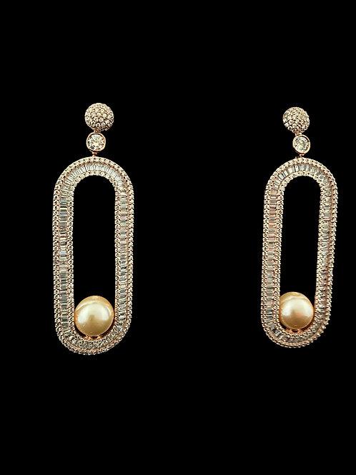 Rose Gold CZ Oval Pearl Earrings