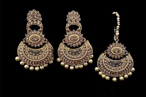 Ivory Polki Mangtika Earrings Set