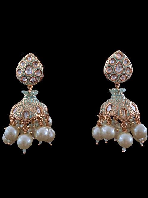 Mint Green Stylized Jhumka Earrings