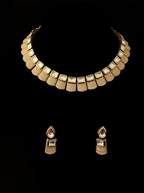 Geometric Kundan Ivory Choker Set