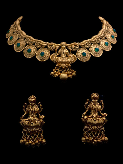 Green Gold Temple Necklace Set