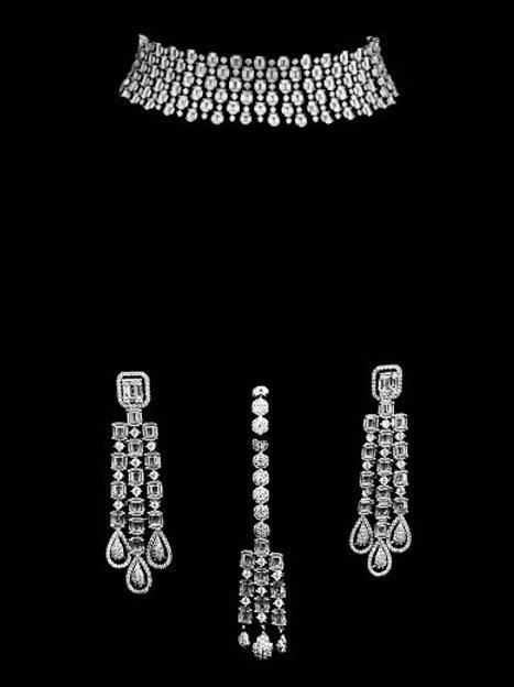 Victorian Gray Cubic Zirconia Choker Necklace Set