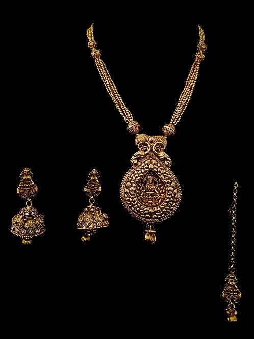 Gold Temple Long Pendant Necklace Set