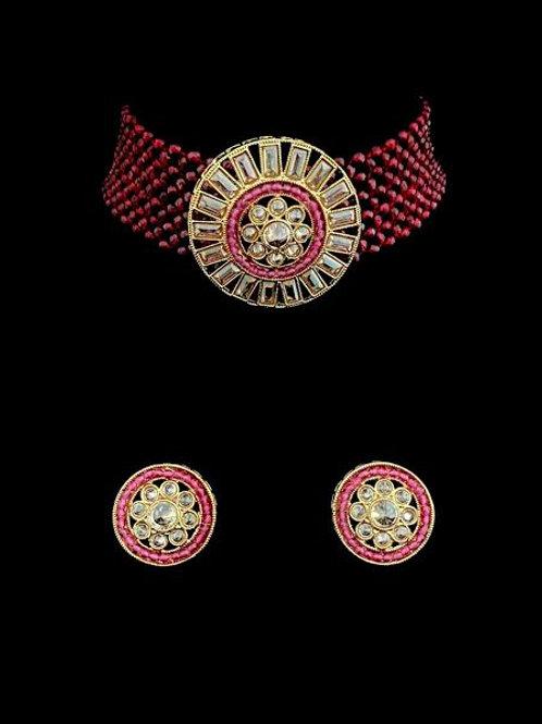 Jewel Tones Choker Stud Earrings Set