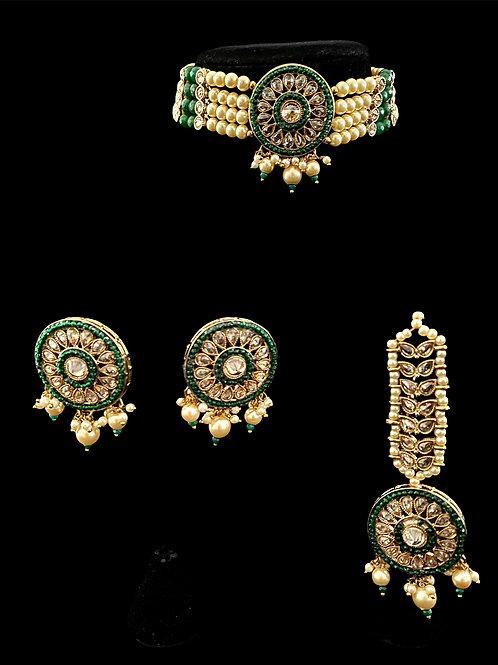 Emerald Green Pearls Polki Choker Set