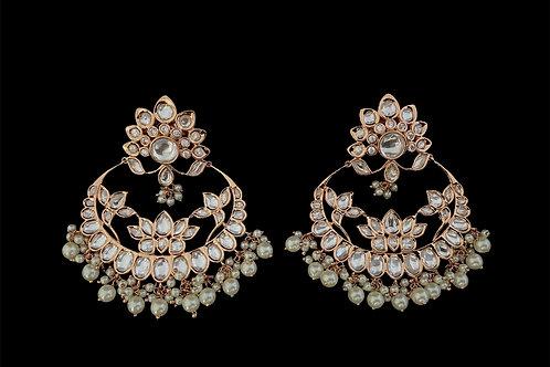 Rose Gold Fine Floral Chandbali Earrings
