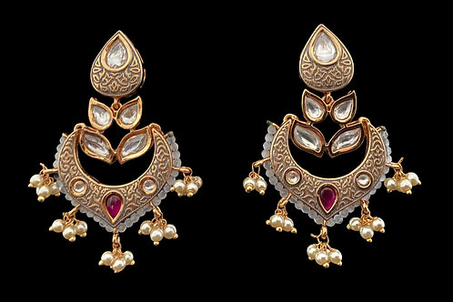 Gray Kundan Meenakari Chandbali Earrings