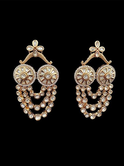 Limited Edition Geometric Kundan Chandelier Earrings