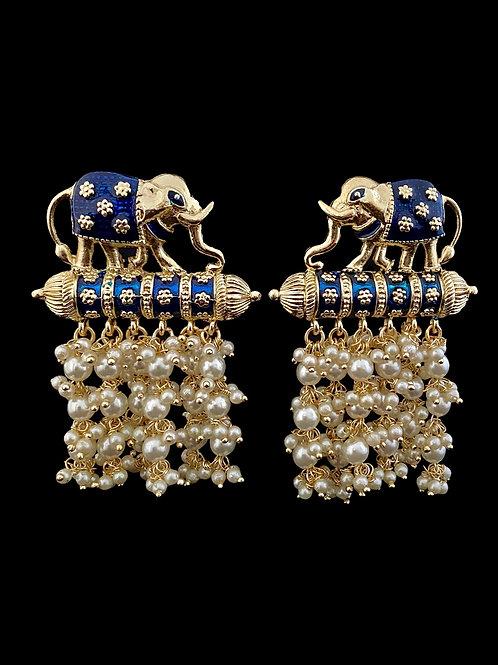 Blue Meenakari Pearls Elephant Earrings