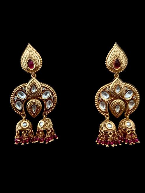 Bronze Red Kundan Jhumki Earrings