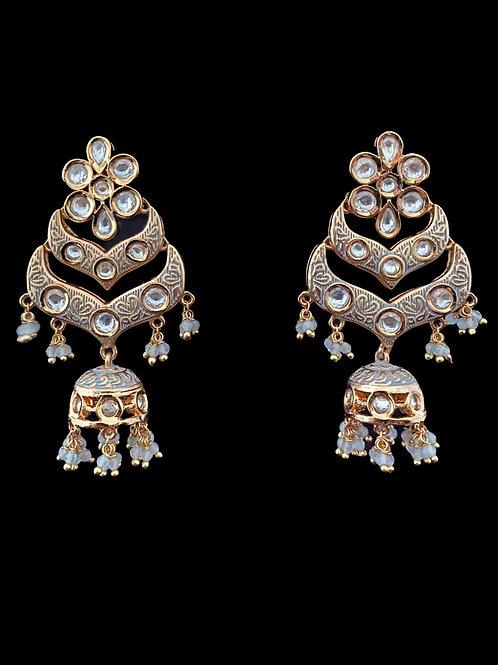 Gray Double Chandbali Jhumka Earrings