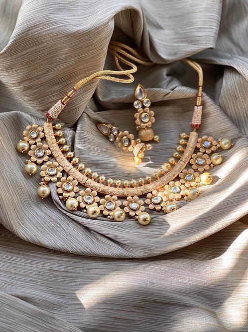 Pastel Kundan Meenakari Floral Choker Necklace Set